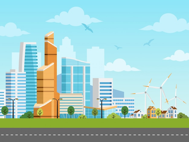Cidade inteligente e panorama de vetor de subúrbio