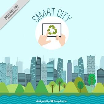 Cidade inteligente fundo da paisagem