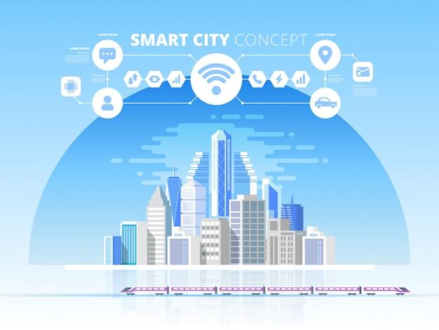 Cidade inteligente. fundo de paisagem urbana com diferentes ícones e elementos. conceito de design com ícones