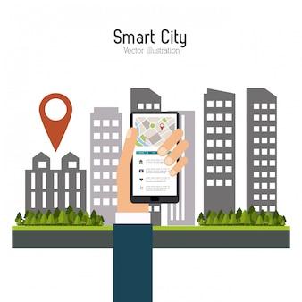 Cidade inteligente. ícone de mídia social. conceito de tecnologia
