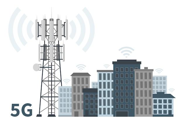 Cidade inteligente inovadora com mastro de estação base 5g