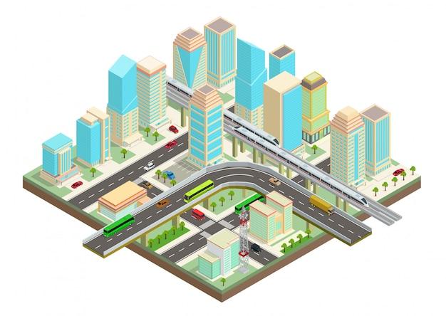 Cidade inteligente isométrica com arranha-céus, rodovia e transporte