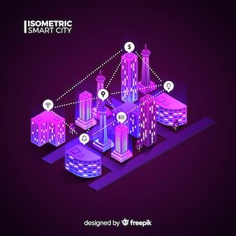 Cidade inteligente isométrica de néon