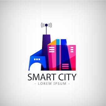 Cidade inteligente, logotipo do setor imobiliário. conceito de cidade inteligente de negócios