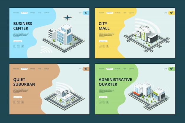 Cidade inteligente. modelo de páginas de destino do site com design de arquiteturas de paisagens urbanas isométricas