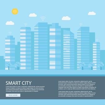 Cidade inteligente moderna. Vetor Premium