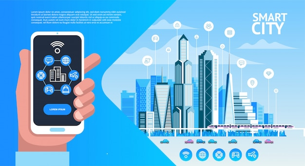 Cidade inteligente. paisagem urbana com edifícios, arranha-céus e tráfego de transportes.