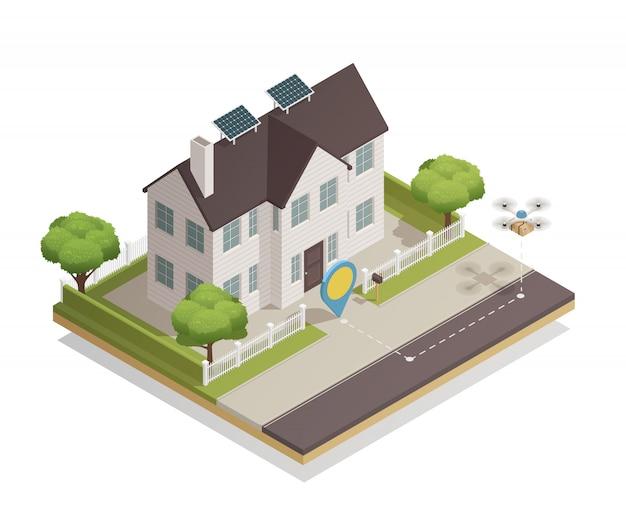 Cidade inteligente townhouse isométrica
