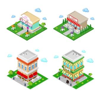 Cidade isométrica. café da cidade com mesas e árvores.