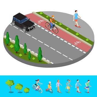 Cidade isométrica. ciclovia com ciclista. trilha com homem andando. ilustração vetorial