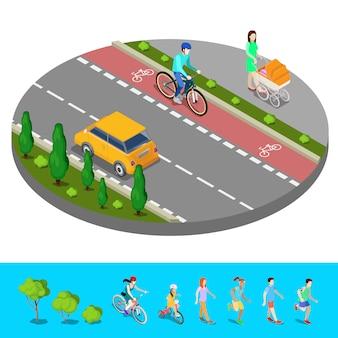 Cidade isométrica. ciclovia com ciclista. trilha com mãe e carrinho de bebê. ilustração vetorial