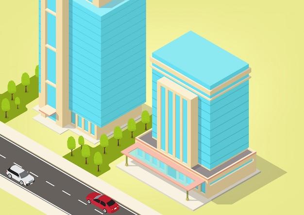 Cidade isométrica com arranha-céus e rodovia