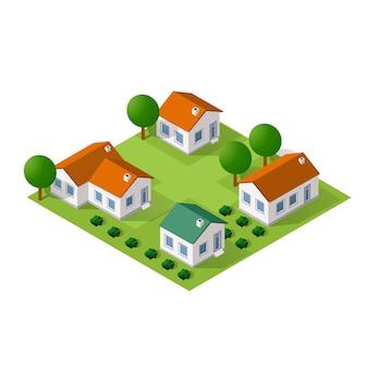 Cidade isométrica com casas e ruas com árvores