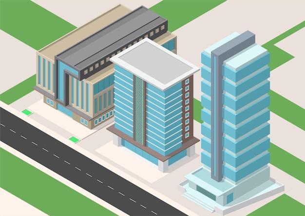 Cidade isométrica com construção de arranha-céus e rodovia