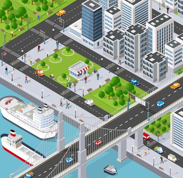 Cidade isométrica com dique de rio e pessoas caminhando por pontes, ruas de transporte e navios