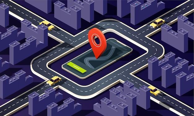 Cidade isométrica com muitos edifícios, ruas, estradas, carros e pino de localização em fundo escuro.