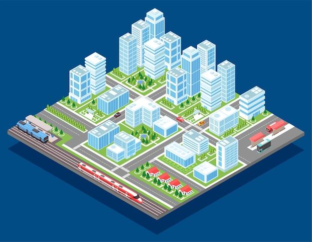 Cidade isométrica com skycrapers