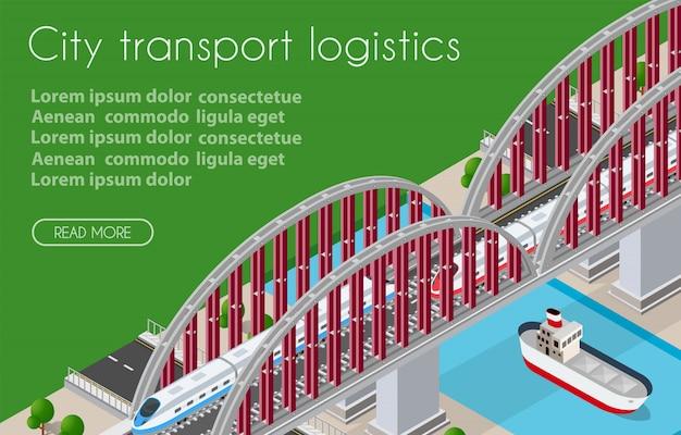 Cidade isométrica de logística de transporte ilustrada