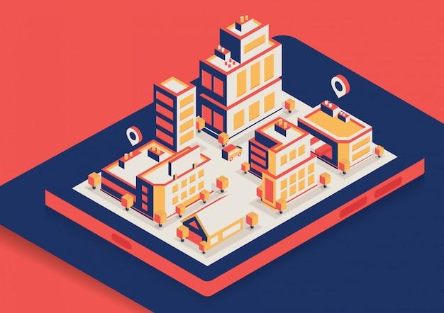 Cidade isométrica de vetor com edifícios diferentes