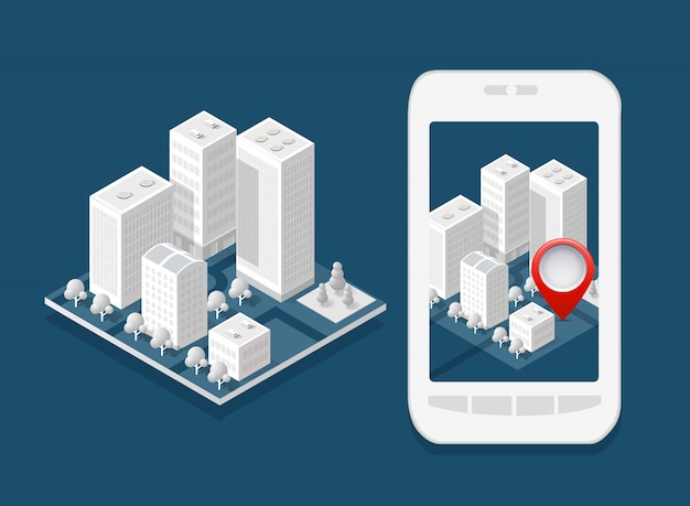 Cidade isométrica do mapa 3d