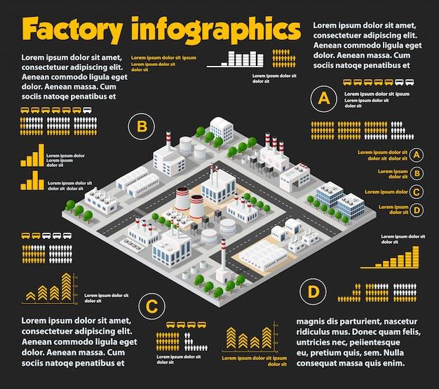 Cidade isométrica industrial