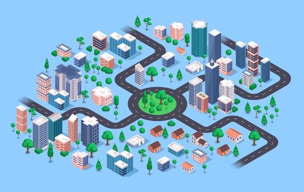 Cidade isométrica moderna paisagem urbana prédios apartamentos casas arranha-céus estradas ruas loja de árvores