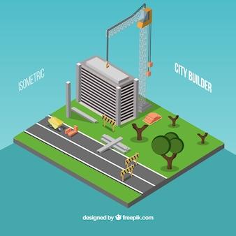 Cidade isométrica na construção
