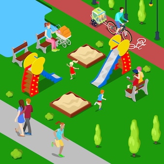 Cidade isométrica. parque da cidade com parque infantil e ciclovia. ilustração vetorial