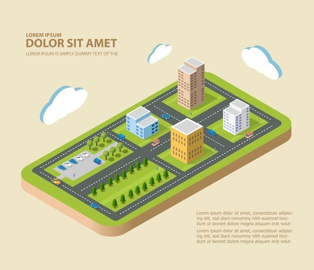 Cidade isométrica plana. bairros urbanos, arranha-céus, casas e ruas