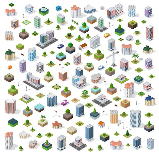 Cidade isométrica rua definida