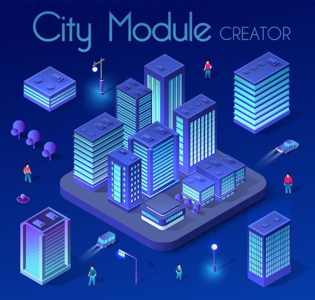 Cidade isométrica ultravioleta