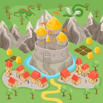 Cidade medieval fantástica e dragões voando sobre o castelo