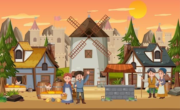 Cidade medieval na cena do pôr do sol com moradores