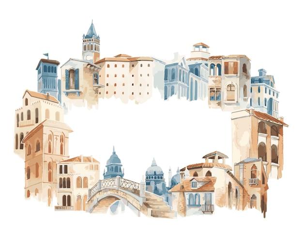 Cidade mediterrânea, predios, exterior, cor água, estilo