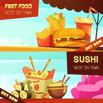 Cidade melhor restaurante de fast-food 2 banners de propaganda horizontal definido com sushi dos desenhos animados