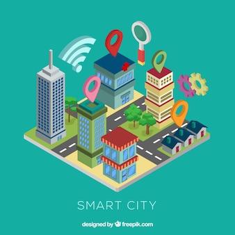 Cidade moderna em estilo isométrico