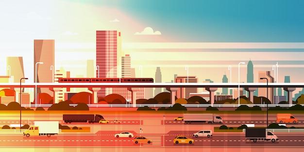 Cidade moderna, sobre, pôr do sol, ilustração, cityscape, com, estrada estrada, e, metrô, sobre, arranha-céu, edifícios