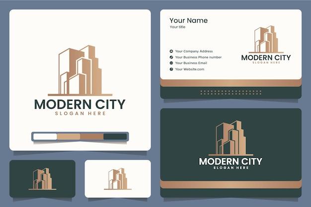 Cidade moderna, tecnologia, escritório, edifício, design de logotipo e cartões de visita