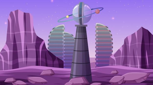 Cidade na cena do espaço