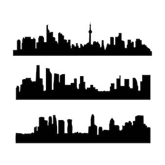 Cidade no horizonte, edifícios no centro da cidade vector silhuetas isoladas de fundo