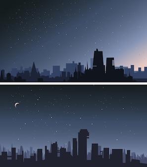Cidade no meio da noite. conjunto de belas paisagens urbanas.