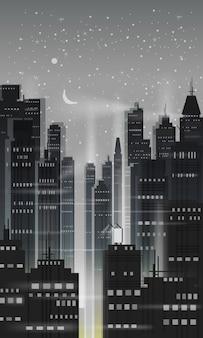 Cidade noturna, cena da cidade, arranha-céus, torres, céu estrelado, luzes, horizonte, perspectiva
