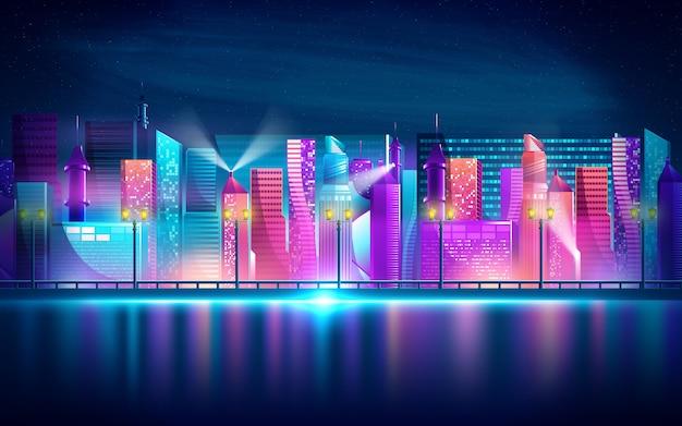 Cidade noturna futurista. paisagem urbana em um fundo escuro com luzes roxas e azuis de néon brilhantes e brilhantes