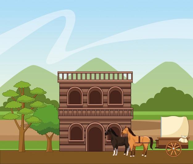 Cidade ocidental com edifício de madeira e transporte de cavalos sobre a paisagem