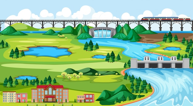 Cidade ou cidade e ponte treinam cena de paisagem em estilo cartoon