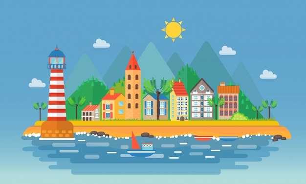 Cidade pequena perto da paisagem de montanhas