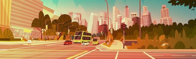Cidade, rua, arranha-céu, edifícios, estrada, vista moderna, paisagem urbana, cingapura, centro cidade