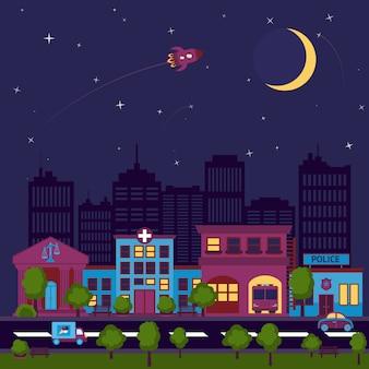 Cidade, scape, noturna, ilustração