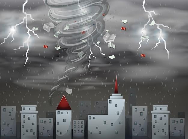 Cidade, scape, tornado, e, tempestade, cena