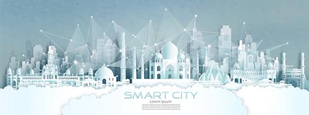 Cidade sem fio de comunicação de rede sem fio de tecnologia com arquitetura na índia. Vetor Premium